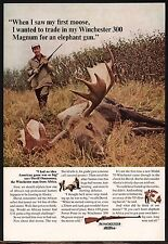 1965 WINCHESTER 300 Magnum RIFLE AD Hunting Moose