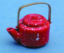 1:12 Scale Red Spotted  Wooden Kettle Dolls House Miniature Kitchen Accessory
