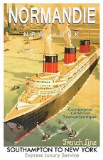 S.S. Normandie French Line Poster  11 x 17