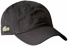 NEW LACOSTE MEN'S PREMIUM COTTON CROC LOGO BASEBALL ADJUSTABLE HAT CAP BLACK