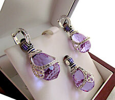 STUNNING EGG PENDANT & EARRINGS SET MADE OF SOLID STERLING SILVER 925 AMETHYST