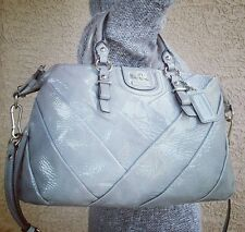 COACH gray PATENT LEATHER MADISON DIAGONAL PLEATED JULIETTE SATCHEL 21304 purse