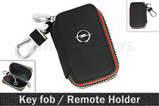 OPEL Black Leather Key Ring Keychain Key fob Remote Zipper Cover Case Holder