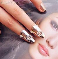 UK SILVER HEART DIAMANTE NAIL ART CLAW FINGER TIP RING EMO PUNK GOTHIC FREE GIFT