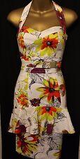 Karen Millen Floral Print Peplum Halter Neck Sleeveless Dress 6 34