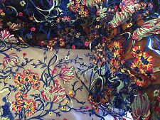 Kings Flower Design Multicolor Mesh Lace Fabric Royal. Sold By The Yard