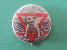 Bulldog Red Triangle WW1 Button Day Pinback Badge