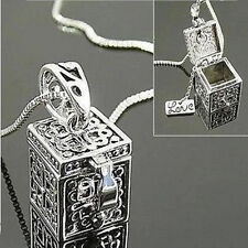 Hot Vintage Silver Necklace Box Charms Pendant Jewelry Women Christmas Gift