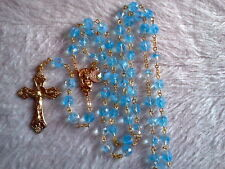 CARIBBEAN TURQUOISE BLUE CRYSTAL -18K GOLD PLATED ROSARY