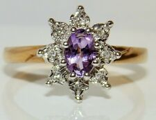 FINE 9CT YELLOW GOLD AMETHYST & DIAMOND KATE CLUSTER ENGAGEMENT RING SIZE M