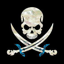 Pirate Skull / Skull with Sword (White Pearl) Inlay Sticker Decal Guitar & Bass