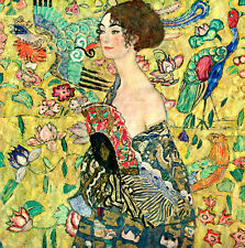 Lady with a Fan by Gustav Klimt 110cm x 110cm Canvas Art Print