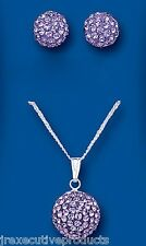 Sterling Silver Purple Austrian Crystal Ball Pendant & Earrings Set
