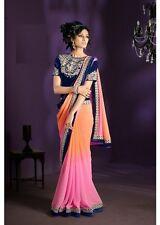 Women Bollywood Party Wear sari Saree Choli Salwar kameez Kurti Pink Peach Blue