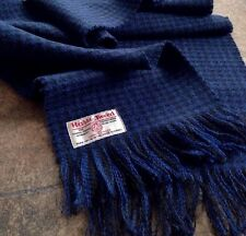 Luxury Harris Tweed Wool Check Scarf Blue Navy Black Royal Classic Midnight Dark