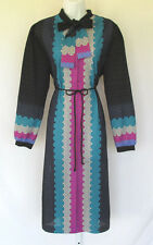 VINTAGE 1970s 80s WARELL POLY ASCOT GEOMETRIC DRESS SIZE 22 BELT MULTI COLOR