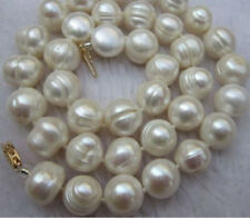 CHARMING SOUTH SEA BAROQUE 10-11MM 18 INCH WHITE PEARL NECKLACE