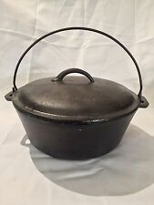 """Vintage Dutch Oven 10 1/2"""" Cast Iron Lidded Pot w/Wire Handle-See Pics"""