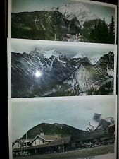 Lot of 3 Alberta Canada RPPC's hand colored CPR Train Depot Alpine Gardens Mount