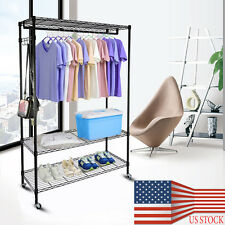Portable Wheels Closet Organizer Storage Clothes Hanger Garment Shelf Rail Rack
