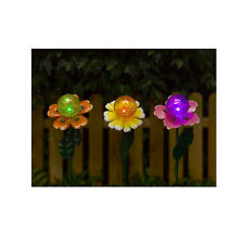 3 Solar Powered Flower Garden Stake Lights w/ Color Changing Cracked Glass Ball