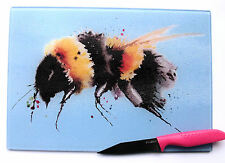 Unique Blue Glass Chopping Board with  BUMBLE BEE design by artist Maria Moss