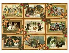 Christmas vintage inspired  cards cats scrapbooking crafts set of 9 w/envelopes