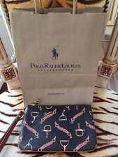 NEW RALPH LAUREN BLACK EQUESTRIAN HORSE BRIDLE BIT WRISTLET PURSE WITH GIFT BAG