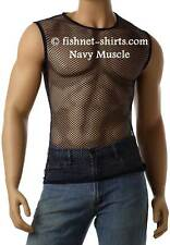 Vintage 80's Mens Mesh Fishnet Sleeveless Muscle Lingerie Underwear Top T-Shirt