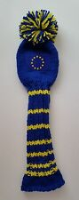 "European Union Flag 15"" Blue/Yellow Hand Knit GOLF CLUB HEAD-COVER Woods, Hybrid"