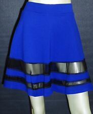 B ENVIED SEXY CASUAL SKATER MINI SKIRT BLUE BLACK MESH LACE STRETCH SMALL