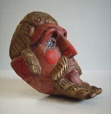 Wood Carved Antique Folk Art Primitive Face Mask with GLASS EYES