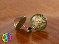 Handmade Glass Dome Sun Moon Goddess Face Fashion Earrings Studs Jewelry Gift