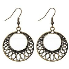 Trendy Lady Bronze Hollow Circle Dangle Hooking Earrings Party Jewelry