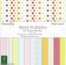 Dovecraft Back to Basics Bright Spark Paper - 8 x 8 Sample Pack - 12 FOGLI