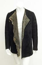 CHRONICLES OF NEVER 2008 Mens Black Suede Shearling Coat Jacket L NEW