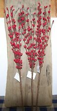 """3 Red Pip Berry Picks/Stems 13"""" Primitive Country Home Decor Craft Supply"""