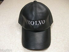 VOLVO  BLACK LEATHER BASEBALL CAP HAT EMBROIDERED