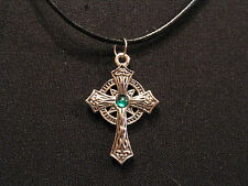 """CELTIC CROSS VINTAGE NECKLACE GOTH OCCULT UK IMPORT  """"GREEN BEAD"""""""