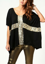 Women Black Oversized Casual Tops Short Sleeve Cross Sequins Shirt Loose Tee