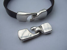 5 Sets Antique Silver Hook Clasps Bracelet Findings For 5mm Or 10mm Flat Leather