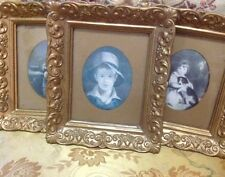Vintage Ornate Gold Wood Framed Victorian Era Style Wall Decor Plaques Set of 3