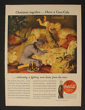 1945 WWII Coca-Cola Soldier Christmas Soda-Pop Coke LARGE SIZE Coke War Art Ad