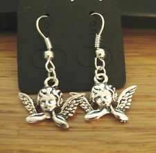 Tibetan Silver Cherub  Guardian Angel Fairy Earrings