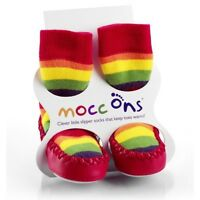 Mocc Ons Toddler Slipper Socks Baby Slippers Red/Rainbow 3 Sizes 6-24 Months