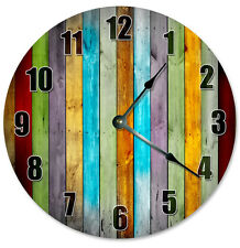 """COLORED WOOD BOARDS Clock - Large 10.5"""" Wall Clock - 2272"""