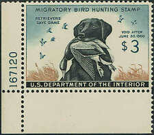 RW#26 PLATE #167120 1959 $3 DUCK STAMP(BLACK LAB) MINT-OG/NH-PSE GRADED:XF/SUP95