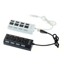 USB 2.0 4 Port Power Adapter On/Off Schalter LED Hub for PC Laptop Notebook