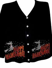 1X 20/22 HALLOWEEN WITCH ON BROOM ART DESIGN TERAZZO COTTON CARDIGAN KNIT OPTION