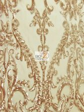 VICTORIAN SEQUINS EVENING DRESS FABRIC - Gold - BY THE YARD BRIDAL DECOR GOWN